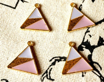 Triangle geometric gold 2 charms jewellery supplies C285