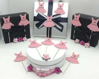 24 cupcake toppers/decorations. Pink party dress & black detailing. Girls birthdays. Baby showers. Christenings. Hen parties etc.UK seller