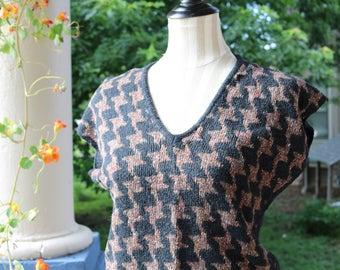 80s Houndstooth Sweater Vest
