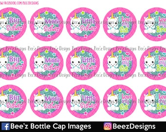 33% off SALE- Unicorn Sisters- INSTANT DOWNLOAD- 1 Inch Bottle Cap Images
