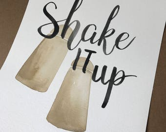 Salt & Pepper Original Watercolor | shake it up | kitchen art | hand painted