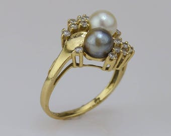 14k Yellow Gold Vintage Dual/double 6.3 Mm Pearl Ring Size 7(01480)