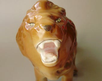 Vintage Russian porcelain  figurine,lion,handmade,signed