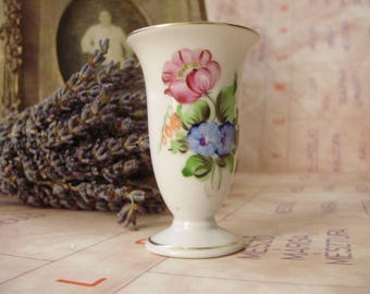 Vintage Hungarian Herend porcelain little violet vase,handpainted,stamped