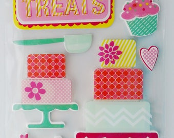 Sweet Treats Scrapbook Stickers from Michael's Recollections, Cake Stickers, 3D Phrases, Dimensional Stickers, Cupcakes, Dessert