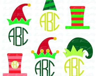 60 % OFF, Elf Hat SVG, Elf hat Christmas Monogram Svg, Monogram Svg, Elf hat Silhouette svg, dxf, ai, eps, png, Christmas SVG Files