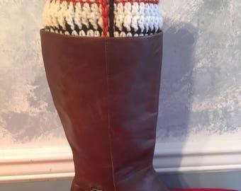 SKU 10007 Beige plaid boot cuff