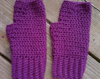 Purple Fingerless gloves, wool blend, fingerless mittens, driving gloves, driving mittens, texting mittens, typing gloves, typing mittens