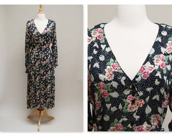 Vintage 90s Floral Dress ⎮ 1940s Style Maxi Dress  ⎮ Long Sleeve Grunge Boho Dress