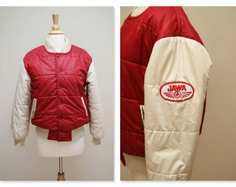Vintage 80s Winter Ski Jacket ⎮ 1980s Puffer Jacket ⎮ Red Beige Puffy Ribbed Coat