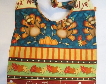 Thanksgiving! Turkeys! Pumpkins! Pumpkin Pies! Give Thanks! Gobble 'til Ya' Wobble! Baby Bib! 100% Cotton. Handmade.