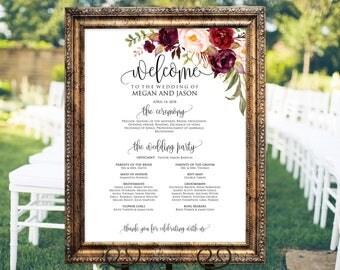 Wedding program Sign, Ceremony Program Sign, Welcome Wedding Sign, Burgundy, Marsala, Instant Download, Editable PDF, #A047