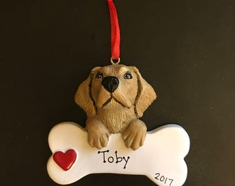 Yellow Labrador Retreiver Dog Pet Personalized Ornament- Free Hand Personalization and Gift Bag Included!