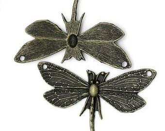 3 large pendants charm Dragonfly bronze 49 x 31 mm