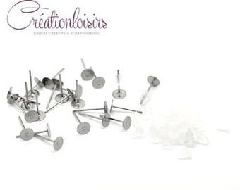 100 stud earring set with end caps 12 x 3 mm