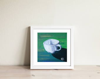 Cup on the green background. Limited edition art print