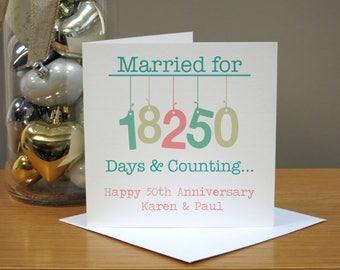 Personalised Hanging 50th Wedding Anniversary Card - Gold Anniversary Card -  Fiftieth Anniversary Card - 50th Anniversary Card
