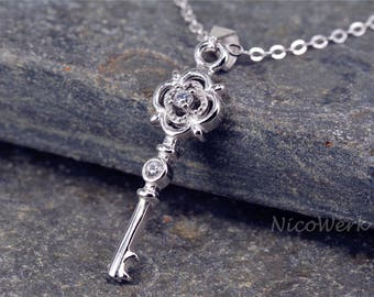Silver necklace with pendant key necklace ladies 925 Silver Chain jewelry SKE190