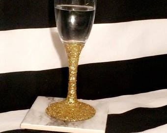 Glitter Champagne Flutes, Wedding, Bachelorette Party, Bridal Shower, Engagement, Divorce, Anniversary, Retirement Gift