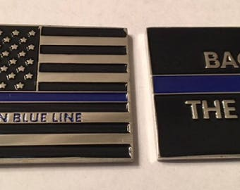 Thin Blue Line Flag Back the Blue Police Challenge Coin, NYPD  **FREE SHIPPING**