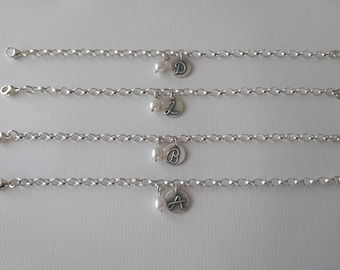 Silver and Pearl initial braidsmaid/gift bracelets