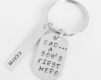 Fathers Day Keychain, Dad A Sons First Hero, Personalized Dad Keychain, Dad and Son, New Dad Gift, Fathers Day Gift, Dad Keychain, Dad Gifts