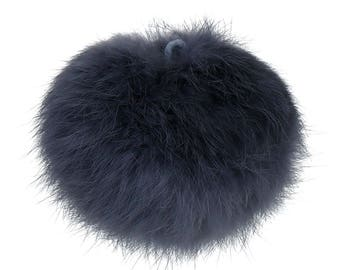 1 x large angora - dark grey tassel