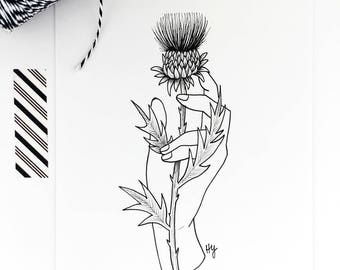 Thistle Flower Nature Drawing Wall Art, Floral Illustration Home Decor, Minimalist Hand Drawn Line Drawing Art, Unique Original Art