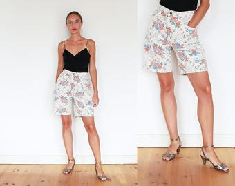 90s Floral Denim Shorts / S