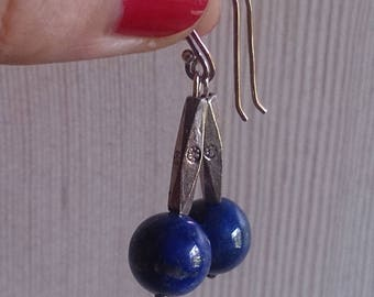 Blue Lapis lazuli earrings with sterling silver long bead