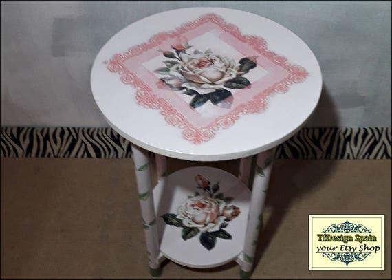 Round wood table, Round wood coffee table, Round wood end table, 40cm round wood table, Round wood table painted, Round wood table plants
