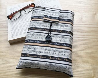 Book Sleeve, Book Cover, Book Protector, Mother's Day Gift, Music Lover Gift, Book Lover Gift, Fabric Book Cover Book Bag