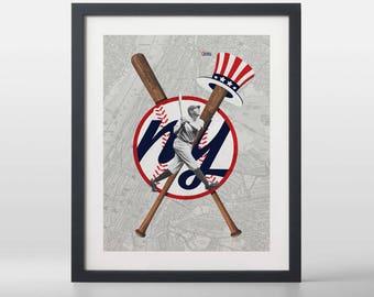 New York Yankees-inspired Baseball Art Print