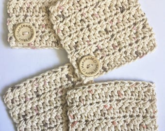 """Set of 4 Crochet Coasters with Wooden Button Engraved with """"Handmade with Love"""" Cotton Square Tan/Beige Coffee Tea Coasters Kitchen Table"""