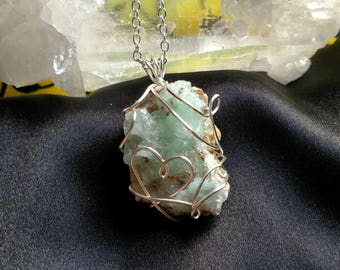 Hemimorphite Necklace, Blue Hemimorphite Necklace, Druzy Geode Necklace, Crystal in Matrix pendant, fairy pendant, heart crystal necklace