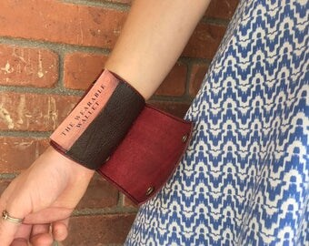 Leather cuff, wrist wallet, leather wallet, bracelet, ID holder, leather ID cuff, travel accessory, new mama gift, Mother's Day