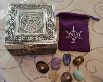 Silver Pentacle Gemstone Goodie Box/Triple Moon Pouch/Gemstones