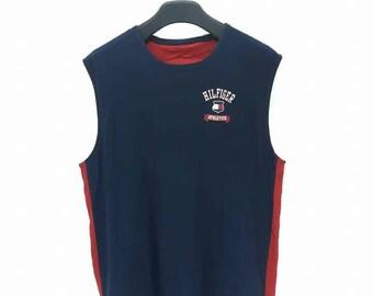 Rare Vintage Tommy Hilfiger Big Logo Reversibles Sleeveless T Shirt Basketball Jersey Hip Hop