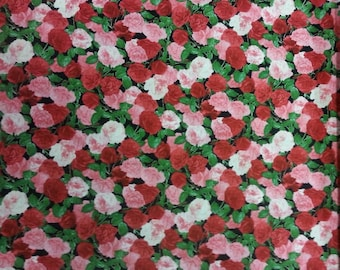 Rose Bush Fabric 100% Cotton Material By Metre Flowers Floral Colourful Patchwork Cushions Bags Bunting