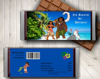 Moana Candy Bar Wrapper, Moana Birthday, Moana Birthday Decorations, Party Favors, Birthday Candy Bar Wrappers, Hershey Chocolate Wrappers