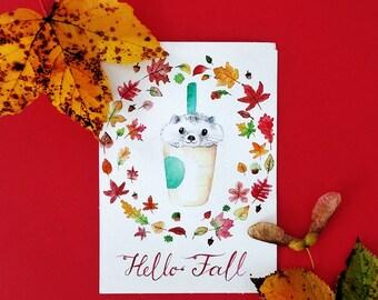 Hedgehog Art Print - modern watercolour art,fall,autumn,cute,leaves,painting,happy,hipster,animal art,pumpkin latte,funny animals,coffee
