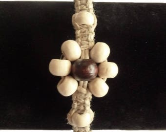 Linen and wood flower bracelet white and dark brown