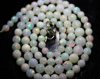 """30% Off Rare Opaque Fire AAAA+ Natural Ethiopian Opal Round Smooth Beads 4-6.3mm 17""""Inches Long Multi Fire Necklace #BS41"""