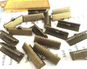 wholesale 100 Pieces /Lot Antique Bronze Plated 20mm ribbon crimp clasps  end crimp clip