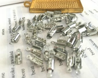 wholesale 50 Pieces /Lot silver Plated 10mmx4mm cord end crimp