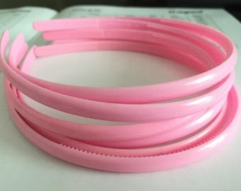 10pieces light pink colors plastic hair headband covered 8mm width wide