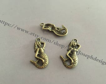 wholesale 100Pieces /Lot Antique Bronze Plated 23mmx14mm little mermaid Charms (#0162)