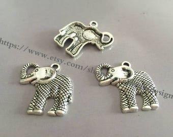 20 Pieces /Lot Antique Silver Plated 25mmx28mm elephant  Charms (#063)