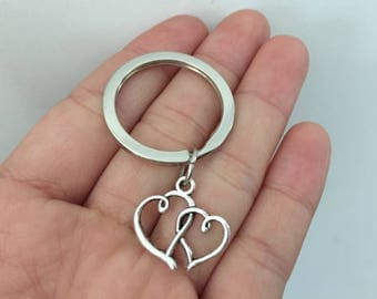heart keychain, heart gifts key ring