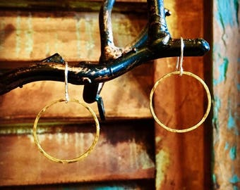 Brass Hammered Circle Earrings